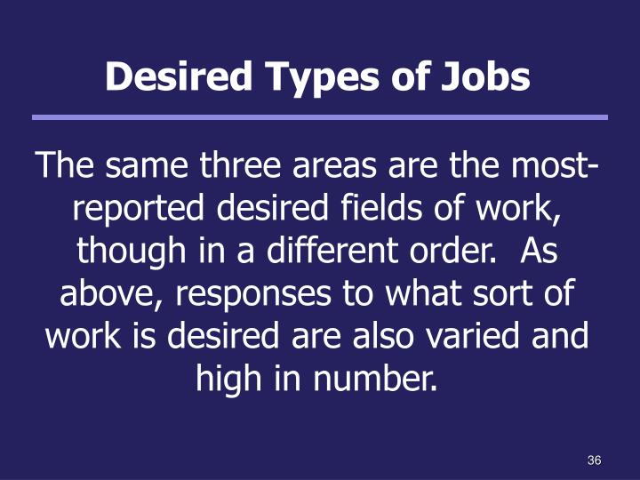 Desired Types of Jobs