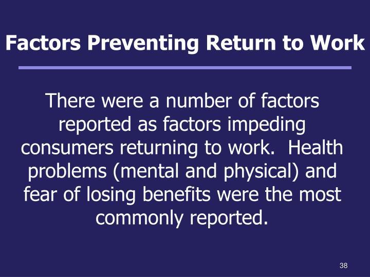 Factors Preventing Return to Work