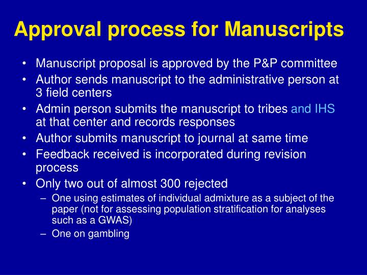 Approval process for Manuscripts