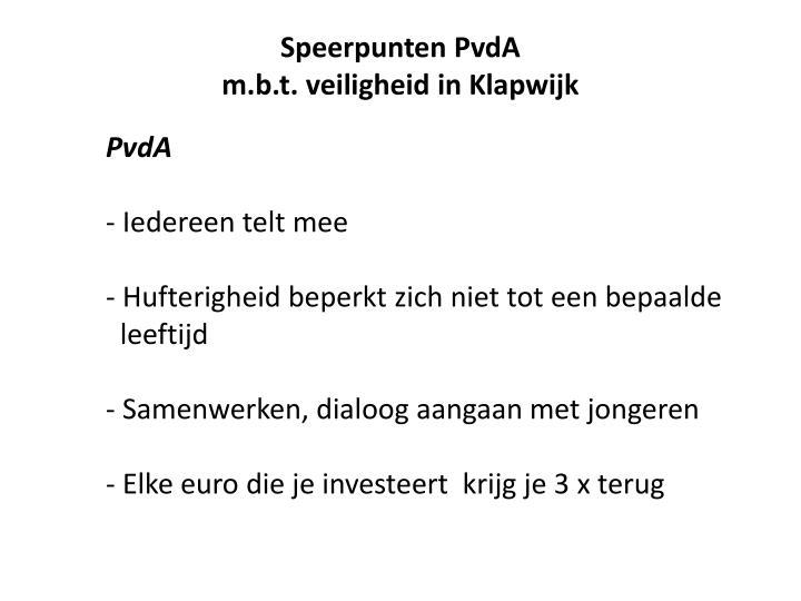 Speerpunten PvdA