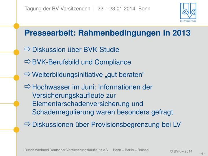 Pressearbeit: Rahmenbedingungen in 2013