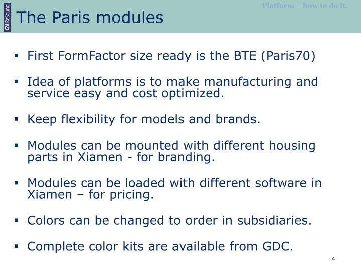 The Paris modules