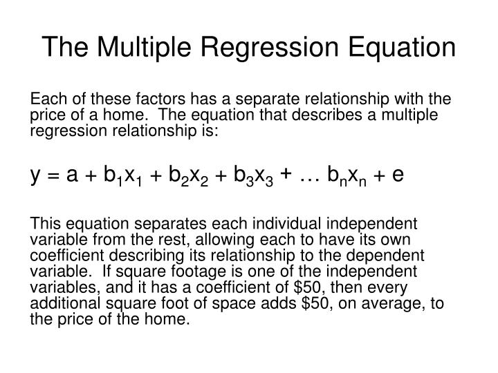 The Multiple Regression Equation