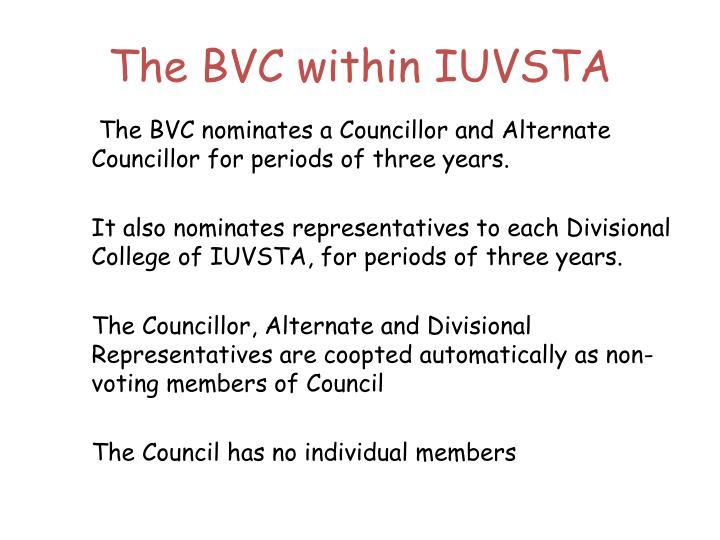 The BVC within IUVSTA