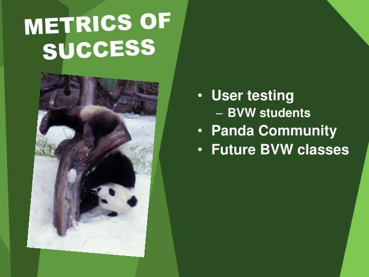 METRICS OF SUCCESS