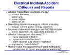 electrical incident accident critiques and reports