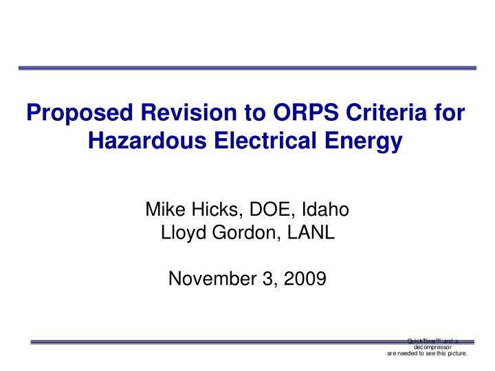 proposed revision to orps criteria for hazardous electrical energy n.