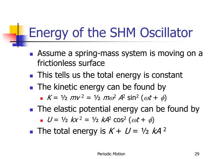 Energy of the SHM Oscillator