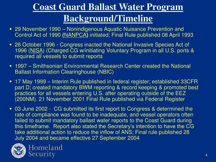 29 November 1990 – Nonindigenous Aquatic Nuisance Prevention and Control Act of 1990