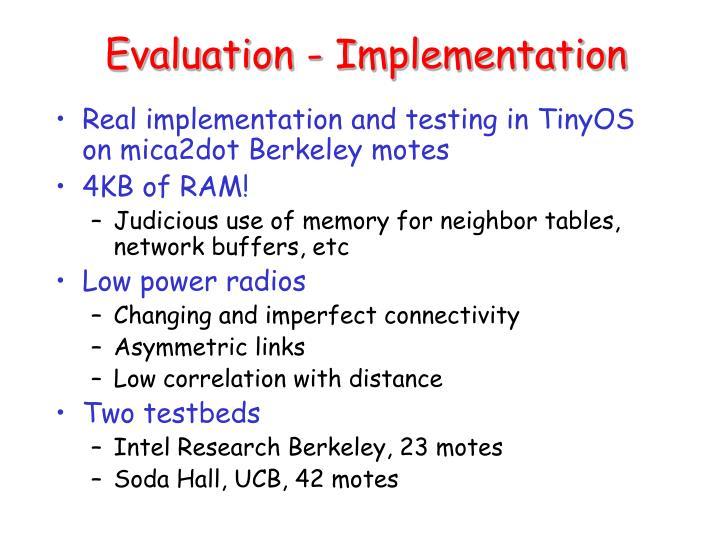 Evaluation - Implementation
