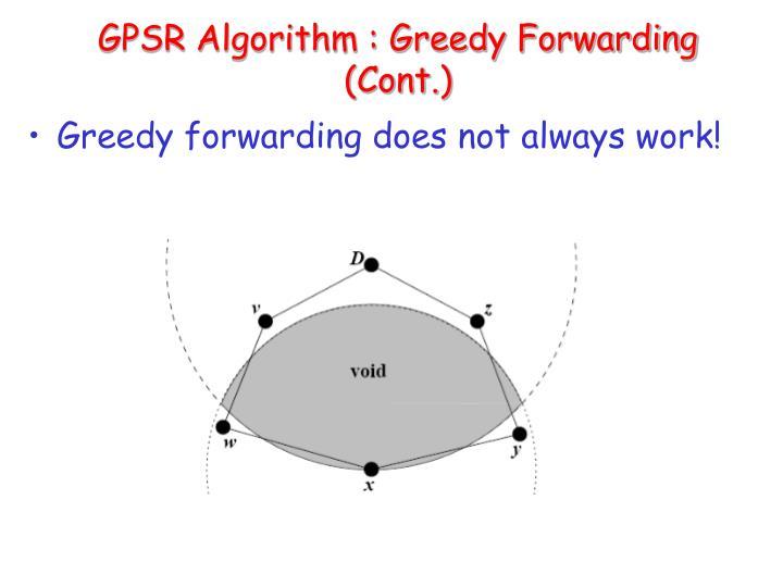 GPSR Algorithm : Greedy Forwarding (Cont.)