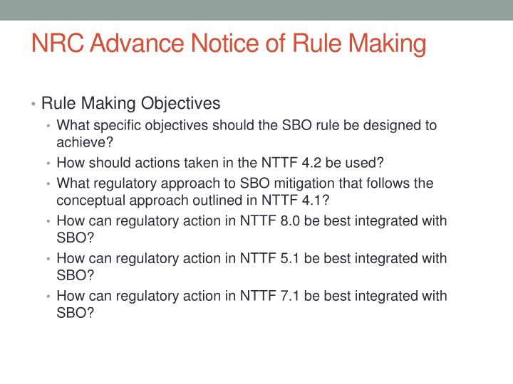 NRC Advance Notice of Rule Making