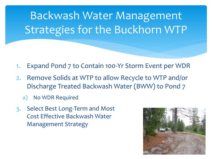 Backwash Water Management Strategies for the Buckhorn WTP