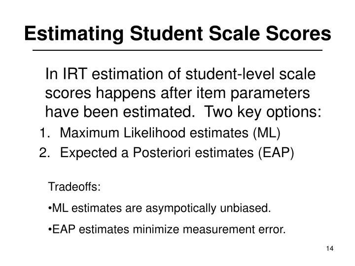 Estimating Student Scale Scores