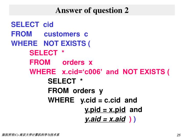 Answer of question 2
