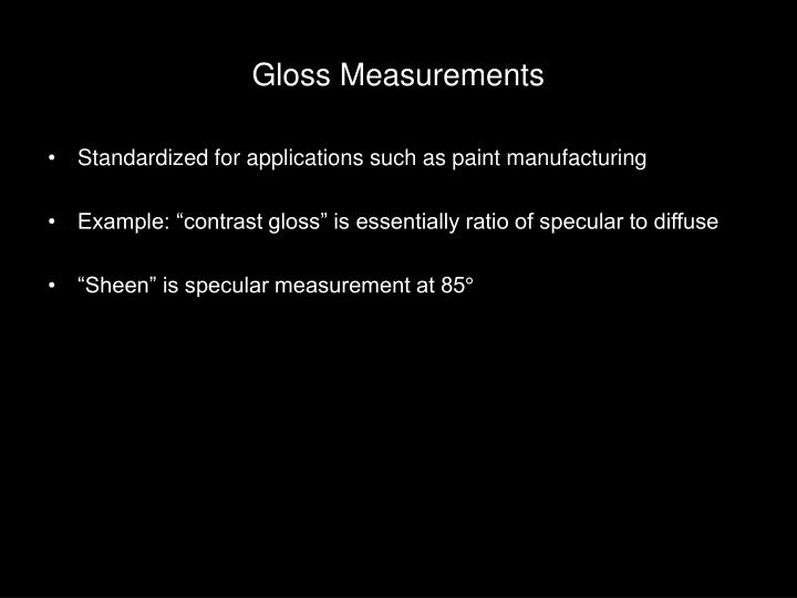 Gloss Measurements
