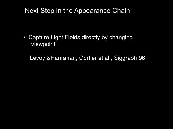 Next Step in the Appearance Chain