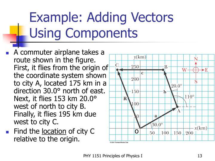 Example: Adding Vectors Using Components