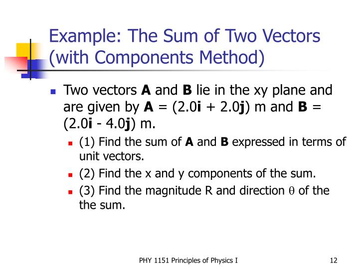 Example: The Sum of Two Vectors (with Components Method)