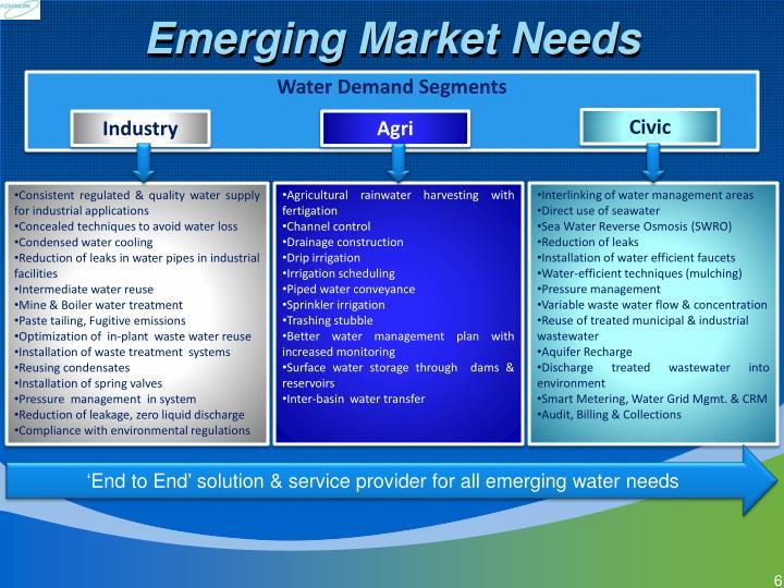 Emerging Market Needs