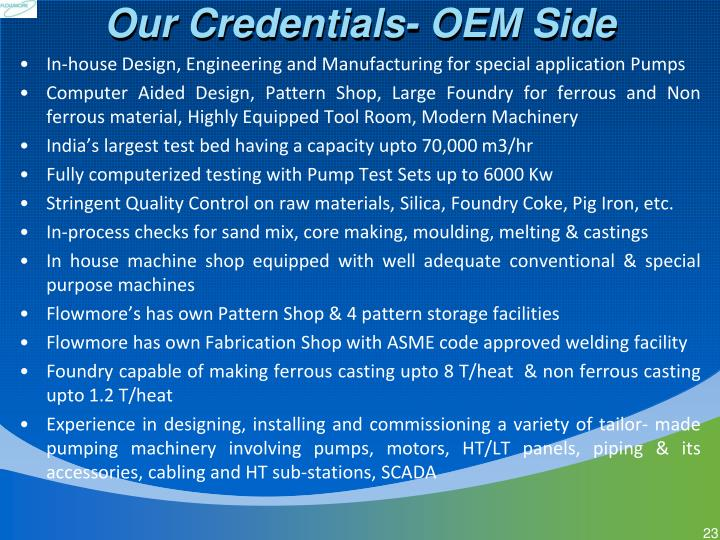 Our Credentials- OEM Side