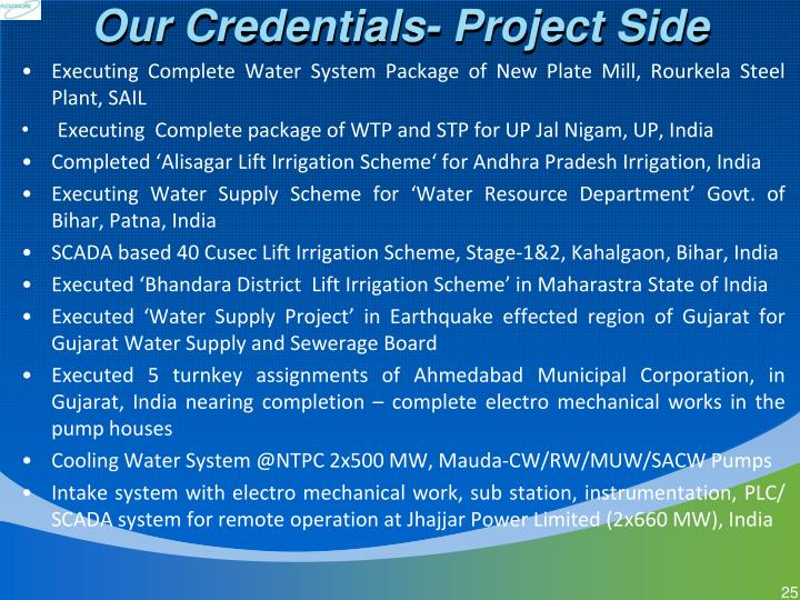 Our Credentials- Project Side