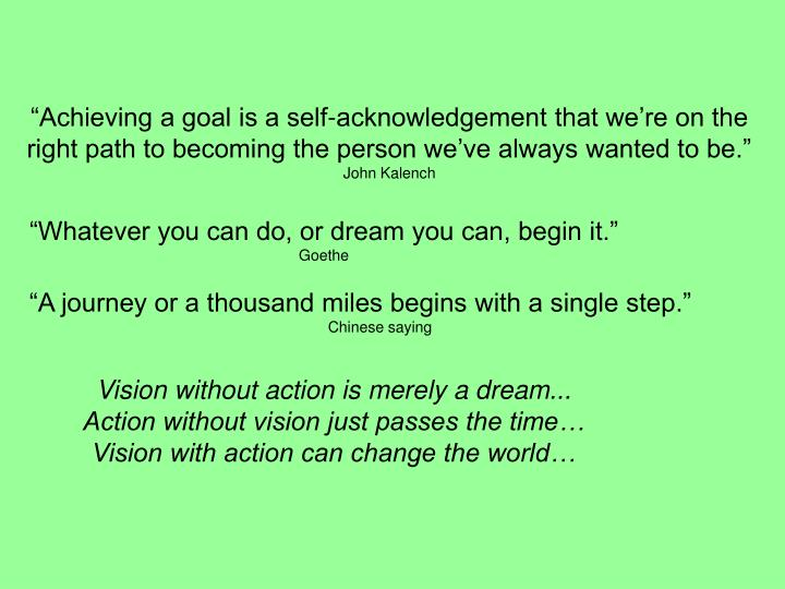 """Achieving a goal is a self-acknowledgement that we're on the right path to becoming the person we've always wanted to be."""