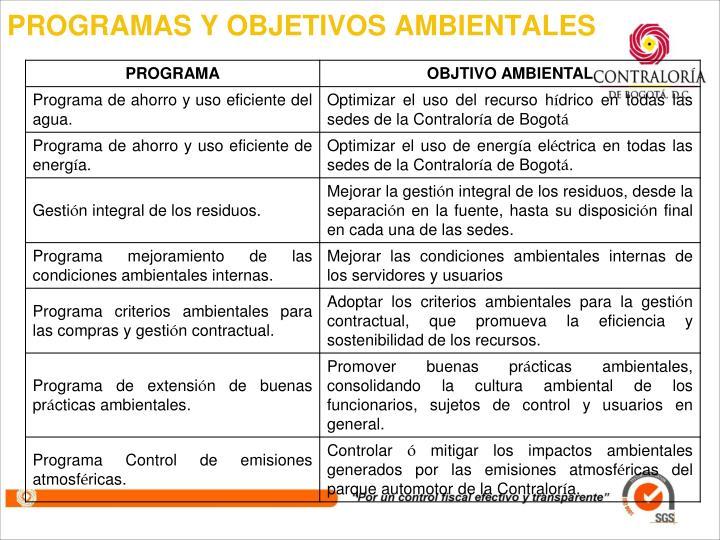 PROGRAMAS Y OBJETIVOS AMBIENTALES