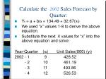 calculate the 2002 sales forecast by quarter