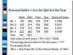 seasonal index ave for qtr ave for year