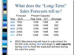 what does the long term sales forecasts tell us