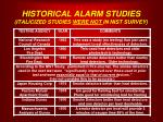 historical alarm studies italicized studies were not in nist survey