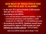 how much of reduction in fire deaths is due to alarms