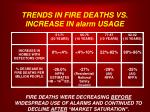 trends in fire deaths vs increase in alarm usage