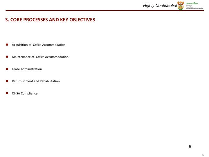 3. CORE PROCESSES AND KEY OBJECTIVES