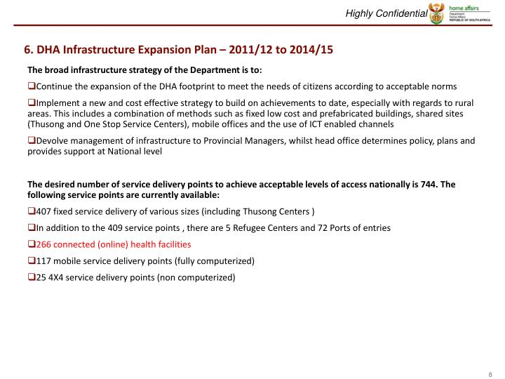 6. DHA Infrastructure Expansion Plan – 2011/12 to 2014/15