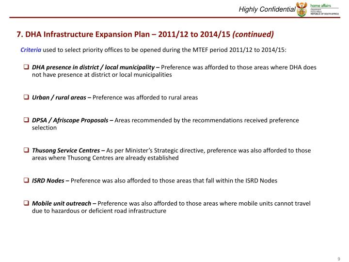 7. DHA Infrastructure Expansion Plan – 2011/12 to 2014/15