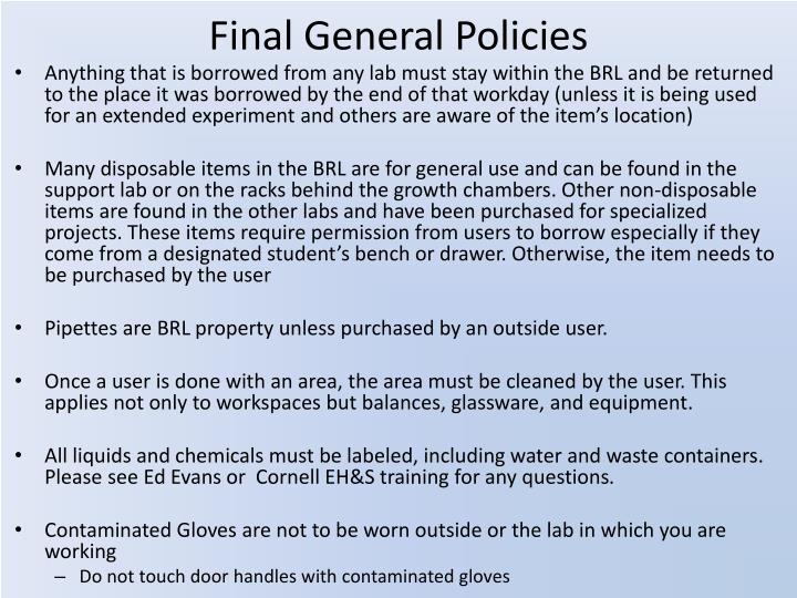 Final General Policies