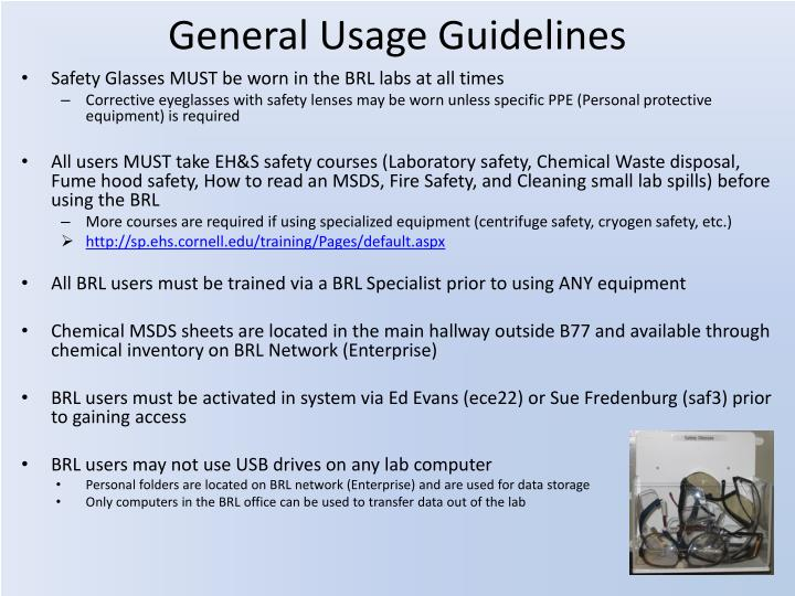General usage guidelines
