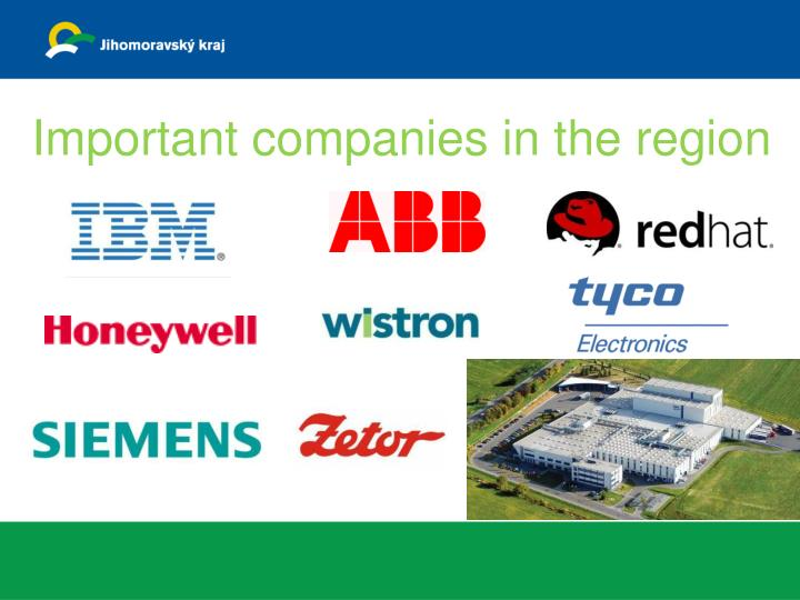 Important companies in the region
