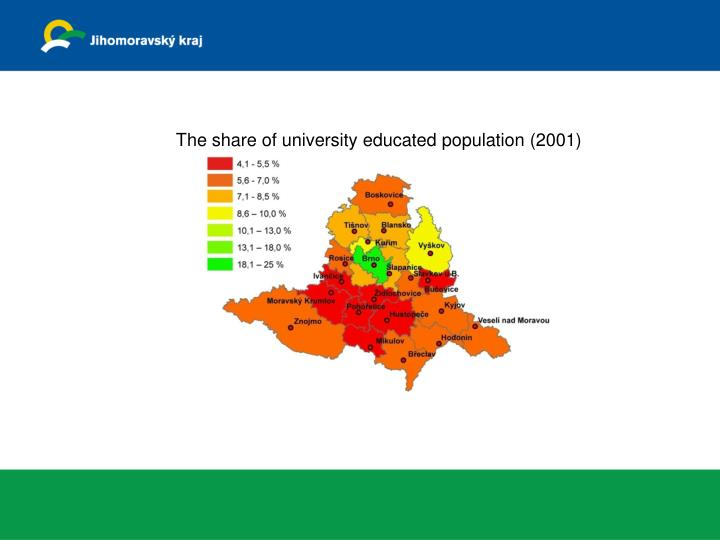 The share of university educated population (2001)