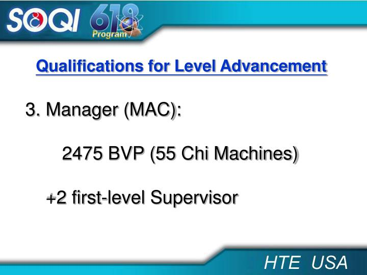 Qualifications for Level Advancement