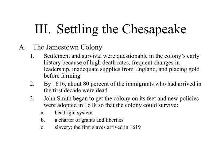 III.Settling the Chesapeake