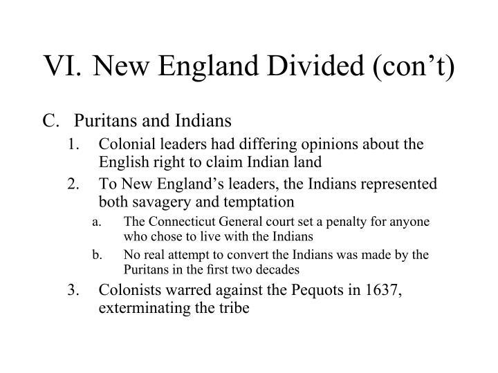 VI.New England Divided (con't)