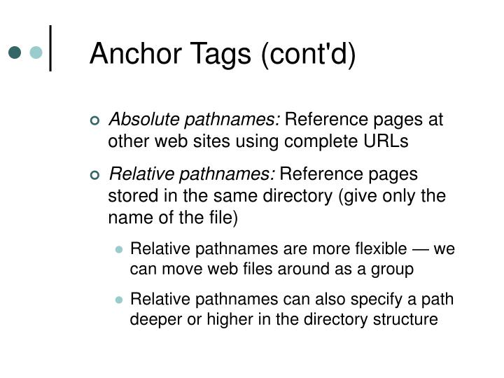 Anchor Tags (cont'd)