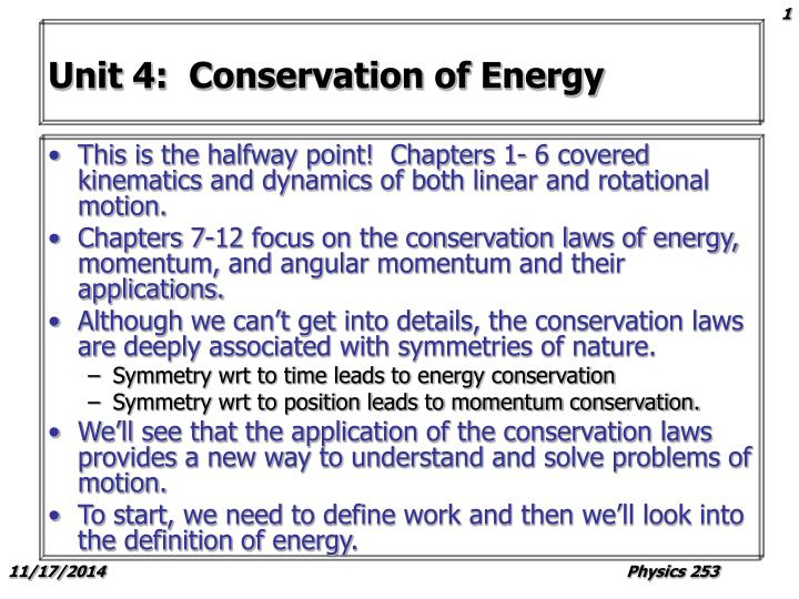 unit 4 conservation of energy