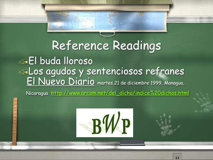 Reference Readings