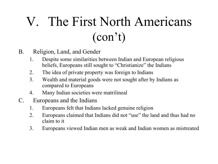 V.	The First North Americans
