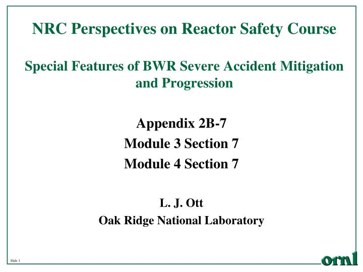 NRC Perspectives on Reactor Safety Course