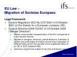 eu law migration of societas europaea